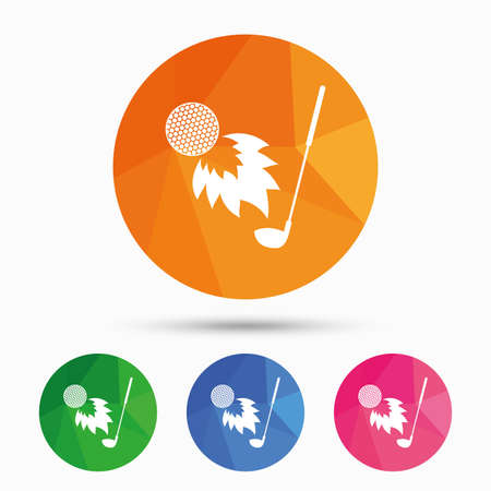 fireball: Golf fireball with club sign icon. Sport symbol. Triangular low poly button with flat icon. Vector