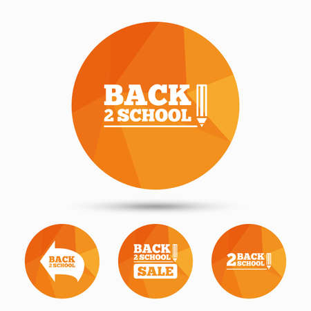 semester: Back to school sale icons. Studies after the holidays signs. Pencil symbol. Triangular low poly buttons with shadow. Vector Illustration