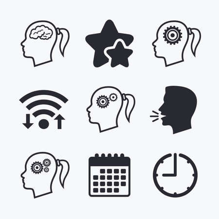 pigtail: Head with brain icon. Female woman think symbols. Cogwheel gears signs. Wifi internet, favorite stars, calendar and clock. Talking head. Vector