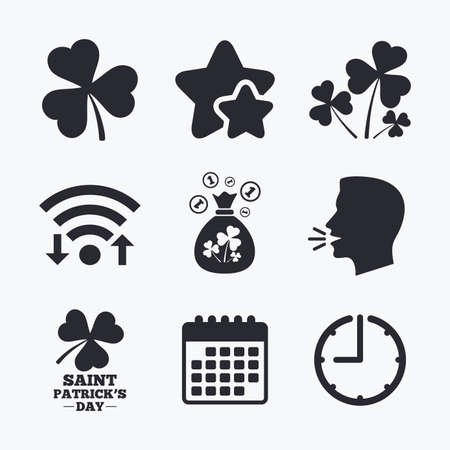 shamrock clover: Saint Patrick day icons. Money bag with clover and coins sign. Trefoil shamrock clover. Symbol of good luck. Wifi internet, favorite stars, calendar and clock. Talking head. Vector