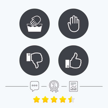 chat up: Hand icons. Like and dislike thumb up symbols. Not machine washable sign. Stop no entry. Chat, award medal and report linear icons. Star vote ranking. Vector Illustration