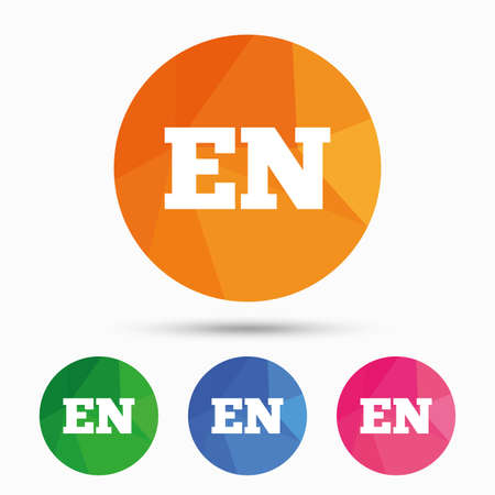 en: English language sign icon. EN translation symbol. Triangular low poly button with flat icon. Vector