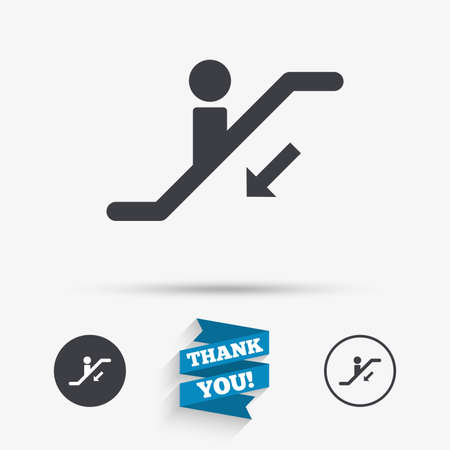 moving down: Escalator staircase icon. Elevator moving stairs down symbol. Flat icons. Buttons with icons. Thank you ribbon. Vector