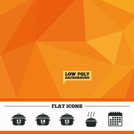 boil: Triangular low poly orange background. Cooking pan icons. Boil 13, 14 and 15 minutes signs. Stew food symbol. Calendar flat icon. Vector