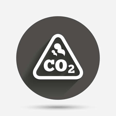 dioxide: CO2 carbon dioxide formula sign icon. Chemistry symbol. Circle flat button with shadow. Vector