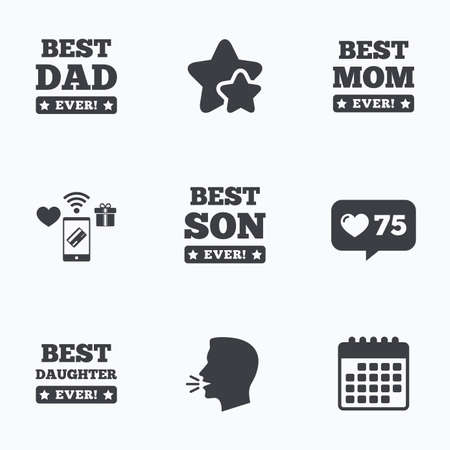 dad and son: Best mom and dad, son and daughter icons. Awards with exclamation mark symbols. Flat talking head, calendar icons. Stars, like counter icons. Vector