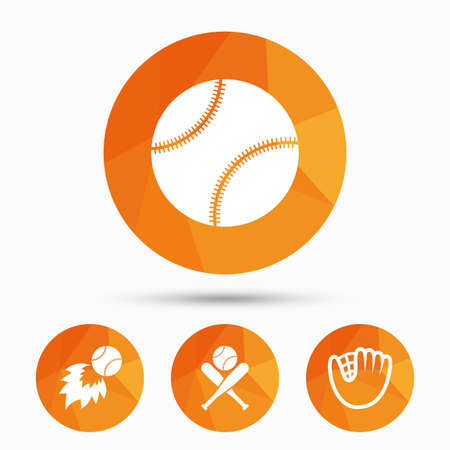 Baseball sport icons. Ball with glove and two crosswise bats signs. Fireball symbol. Triangular low poly buttons with shadow. Vector