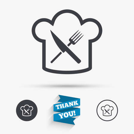 cooking chef: Chef hat sign icon. Cooking symbol. Cooks hat with fork and knife. Flat icons. Buttons with icons. Thank you ribbon. Vector