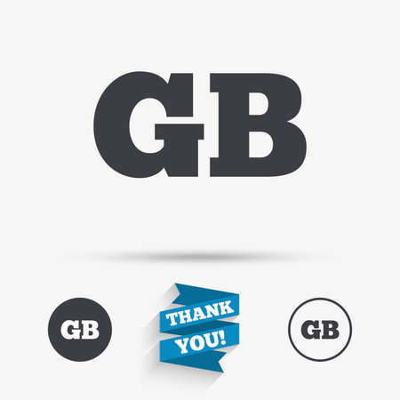 gb: British language sign icon. GB Great Britain translation symbol. Flat icons. Buttons with icons. Thank you ribbon. Vector