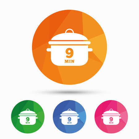 casserole: Boil 9 minutes. Cooking pan sign icon. Stew food symbol. Triangular low poly button with flat icon. Vector