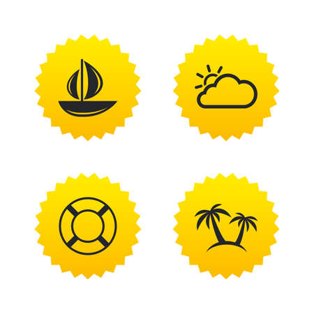 Travel icons. Sail boat with lifebuoy symbols. Cloud with sun weather sign. Palm tree. Yellow stars labels with flat icons. Vector Illustration