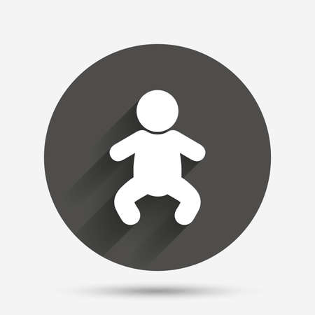 crawlers: Baby infant sign icon. Toddler boy in pajamas or crawlers body symbol. Child WC toilet. Circle flat button with shadow. Vector