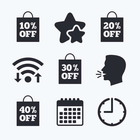 reductions: Sale bag tag icons. Discount special offer symbols. 10%, 20%, 30% and 40% percent off signs. Wifi internet, favorite stars, calendar and clock. Talking head. Vector Illustration