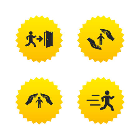emergency exit sign icon: Life insurance hands protection icon. Human running symbol. Emergency exit with arrow sign. Yellow stars labels with flat icons. Vector