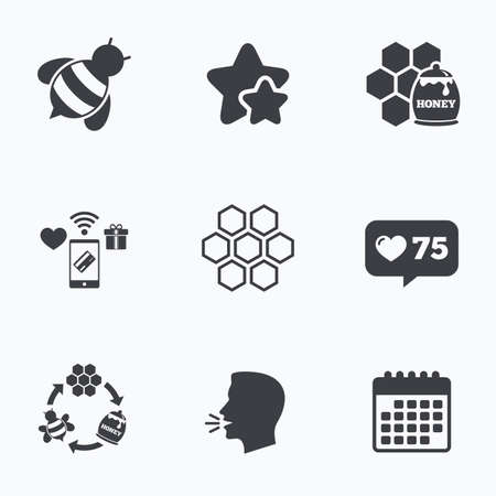 honeycomb like: Honey icon. Honeycomb cells with bees symbol. Sweet natural food signs. Flat talking head, calendar icons. Stars, like counter icons. Vector