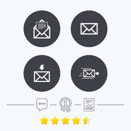 outbox: Mail envelope icons. Message document delivery symbol. Post office letter signs. Inbox and outbox message icons. Chat, award medal and report linear icons. Star vote ranking. Vector