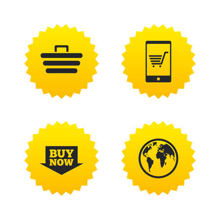 buy now: Online shopping icons. Smartphone, shopping cart, buy now arrow and internet signs. WWW globe symbol. Yellow stars labels with flat icons. Vector Illustration
