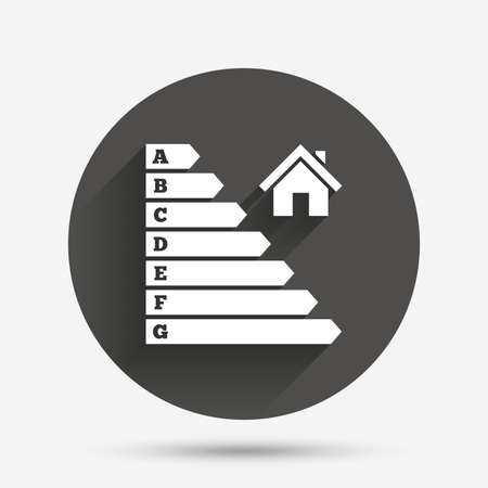 energy icon: Energy efficiency icon. Electricity consumption symbol. House building sign. Circle flat button with shadow. Vector