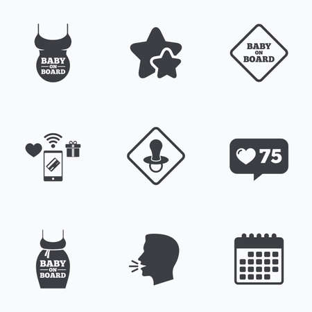 big belly: Baby on board icons. Infant caution signs. Child pacifier nipple. Pregnant woman dress with big belly. Flat talking head, calendar icons. Stars, like counter icons. Vector Illustration