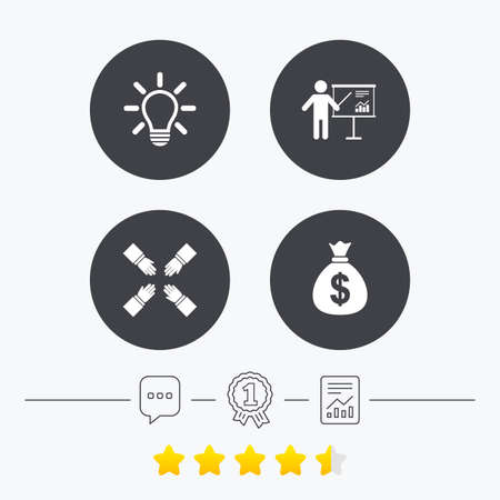 energy ranking: Presentation billboard icon. Dollar cash money and lamp idea signs. Man standing with pointer. Teamwork symbol. Chat, award medal and report linear icons. Star vote ranking. Vector