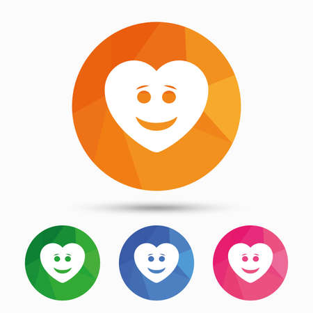 triangular eyes: Smile heart face sign icon. Happy smiley with hairstyle chat symbol. Triangular low poly button with flat icon. Vector Illustration