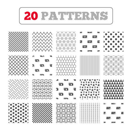 withdrawals: Ornament patterns, diagonal stripes and stars. Businessman case icons. Currency with coins sign symbols. Geometric textures. Vector
