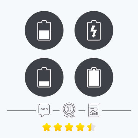 energy ranking: Battery charging icons. Electricity signs symbols. Charge levels: full, half and low. Chat, award medal and report linear icons. Star vote ranking. Vector