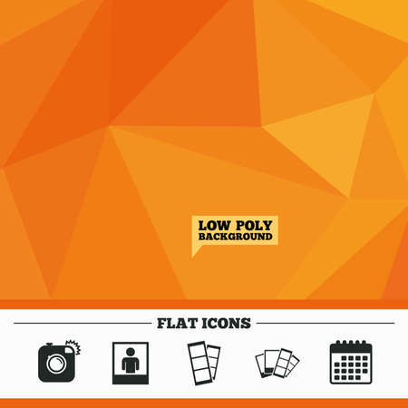 photo people: Triangular low poly orange background. Hipster photo camera icon. Flash light symbol. Photo booth strips sign. Human portrait photo frame. Calendar flat icon. Vector
