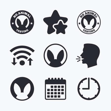 experimentation: No animals testing icons. Non-human experiments signs symbols. Wifi internet, favorite stars, calendar and clock. Talking head. Vector