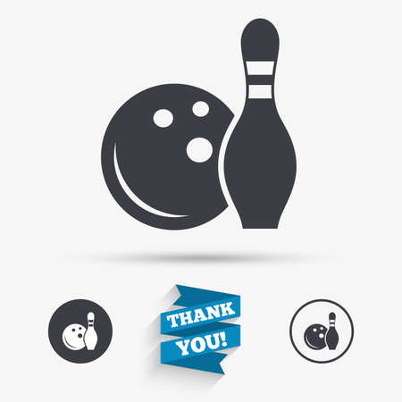 skittle: Bowling game sign icon. Ball with pin skittle symbol. Flat icons. Buttons with icons. Thank you ribbon. Vector