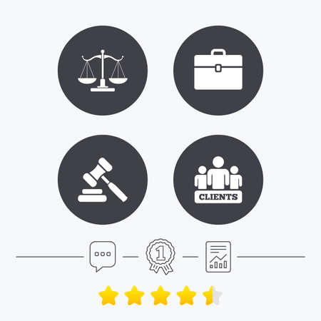 law report: Scales of Justice icon. Group of clients symbol. Auction hammer sign. Law judge gavel. Court of law. Chat, award medal and report linear icons. Star vote ranking. Vector Illustration