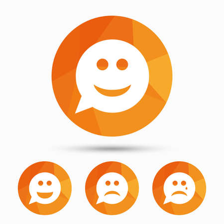 triangular eyes: Speech bubble smile face icons. Happy, sad, cry signs. Happy smiley chat symbol. Sadness depression and crying signs. Triangular low poly buttons with shadow. Vector