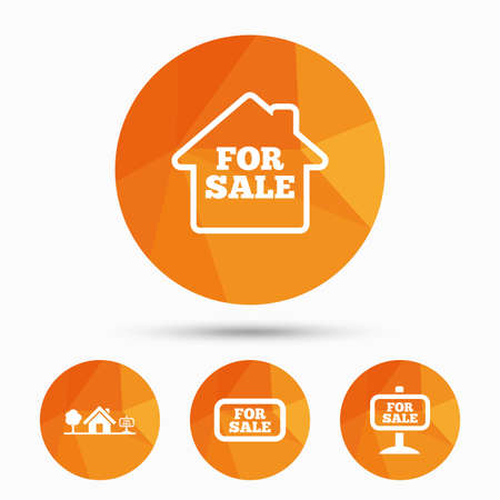 house for sale: For sale icons. Real estate selling signs. Home house symbol. Triangular low poly buttons with shadow. Vector