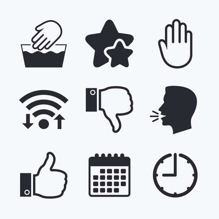 washable: Hand icons. Like and dislike thumb up symbols. Not machine washable sign. Stop no entry. Wifi internet, favorite stars, calendar and clock. Talking head. Vector Illustration