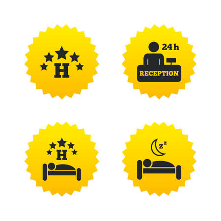 Five stars hotel icons. Travel rest place symbols. Human sleep in bed sign. Hotel 24 hours registration or reception. Yellow stars labels with flat icons. Vector Illustration