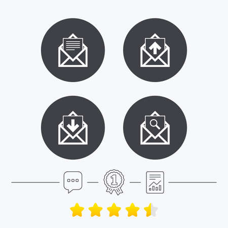 outbox: Mail envelope icons. Find message document symbol. Post office letter signs. Inbox and outbox message icons. Chat, award medal and report linear icons. Star vote ranking. Vector Illustration