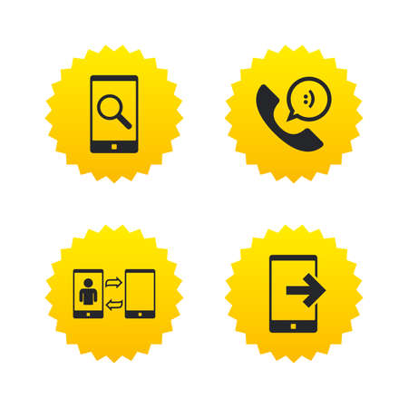 Phone icons. Smartphone with speech bubble sign. Call center support symbol. Synchronization symbol. Yellow stars labels with flat icons. Vector Illustration