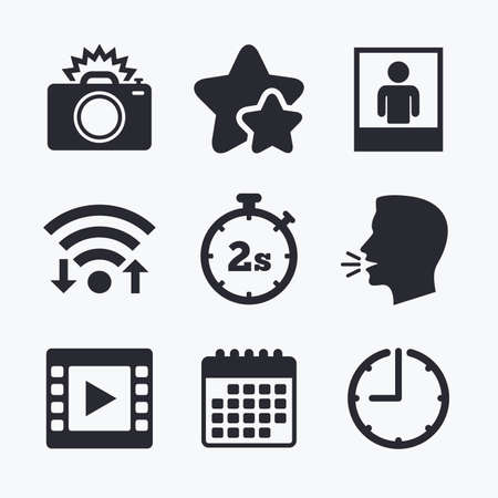 seconds: Photo camera icon. Flash light and video frame symbols. Stopwatch timer 2 seconds sign. Human portrait photo frame. Wifi internet, favorite stars, calendar and clock. Talking head. Vector Illustration