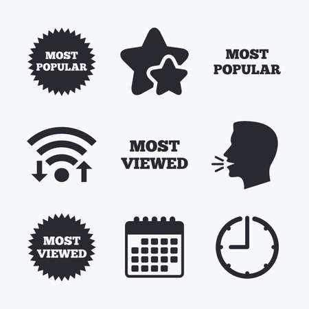viewed: Most popular star icon. Most viewed symbols. Clients or customers choice signs. Wifi internet, favorite stars, calendar and clock. Talking head. Vector