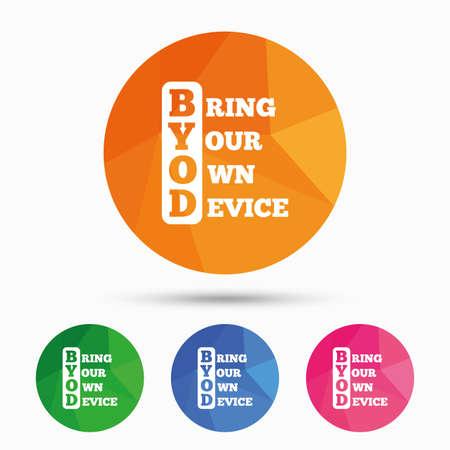 BYOD 記号アイコン。独自のデバイスのシンボルをもたらします。三角形の低ポリ フラット アイコン ボタンです。ベクトル