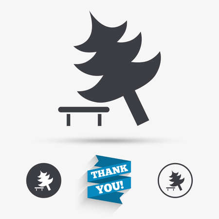 break down: Falling tree sign icon. Caution break down christmas tree symbol. Flat icons. Buttons with icons. Thank you ribbon. Vector