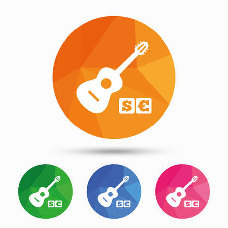 usr: Acoustic guitar sign icon. Paid music symbol. Triangular low poly button with flat icon. Vector