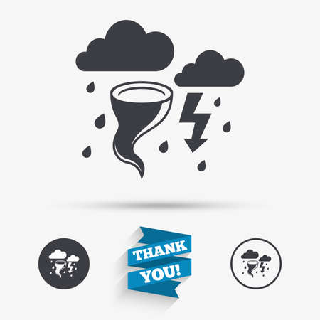 hurricane disaster: Storm bad weather sign icon. Clouds with thunderstorm. Gale hurricane symbol. Destruction and disaster from wind. Insurance symbol. Flat icons. Buttons with icons. Thank you ribbon. Vector