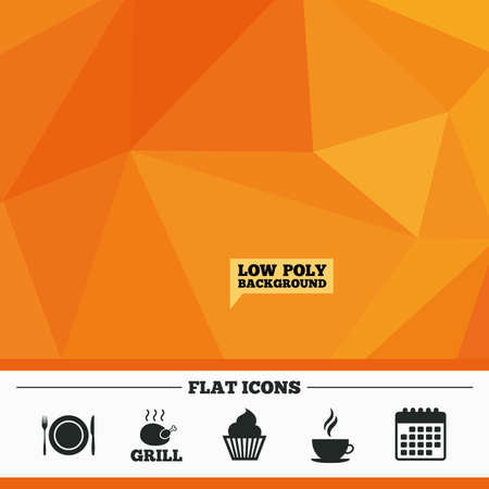 Triangular low poly orange background. Food and drink icons. Muffin cupcake symbol. Plate dish with fork and knife sign. Hot coffee cup. Calendar flat icon. Vector