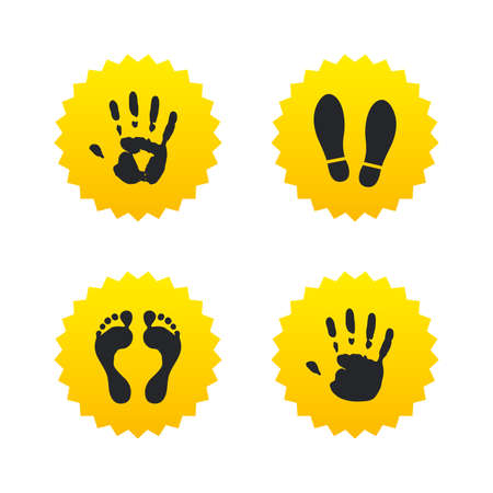 do not enter sign: Hand and foot print icons. Imprint shoes and barefoot symbols. Stop do not enter sign. Yellow stars labels with flat icons. Vector