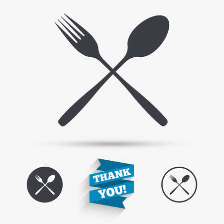 flatwares: Eat sign icon. Cutlery symbol. Fork and spoon crosswise. Flat icons. Buttons with icons. Thank you ribbon. Vector