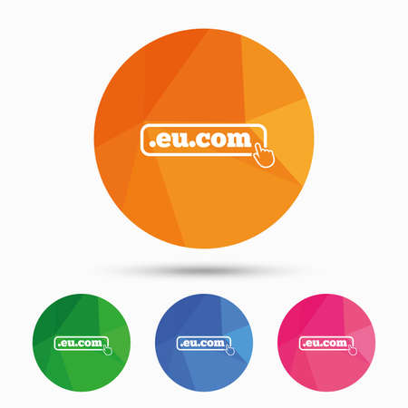 subdomain: Domain EU.COM sign icon. Internet subdomain symbol with hand pointer. Triangular low poly button with flat icon. Vector