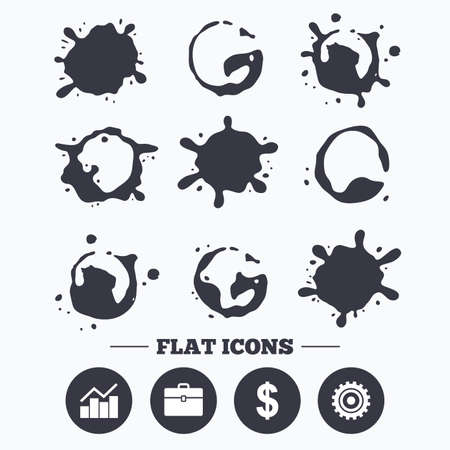 dollar icon: Paint, coffee or milk splash blots. Business icons. Graph chart and case signs. Dollar currency and gear cogwheel symbols. Smudges splashes drops. Vector
