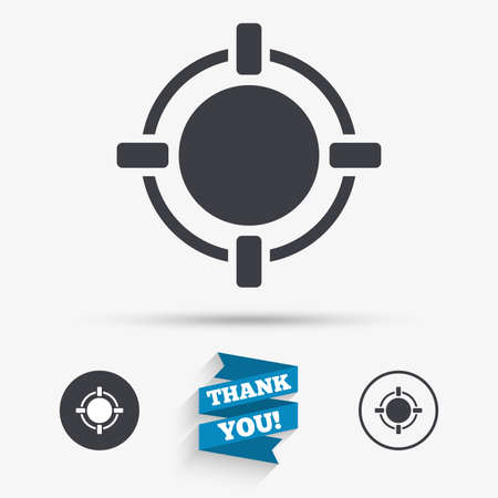 seal gun: Crosshair sign icon. Target aim symbol. Flat icons. Buttons with icons. Thank you ribbon. Vector Illustration