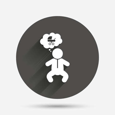 crawlers: Baby infant think about buggy sign icon. Toddler boy in pajamas or crawlers body symbol. Circle flat button with shadow. Vector